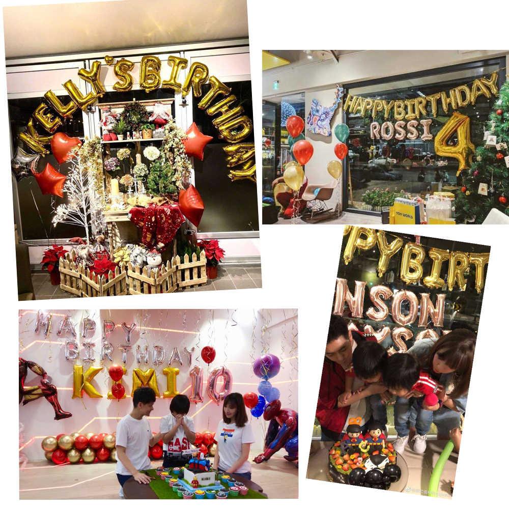5 個 16 インチ箔ハッピーバースデーヘリウム番号風船ローズゴールド結婚記念日パーティーの装飾子供空気ballloons