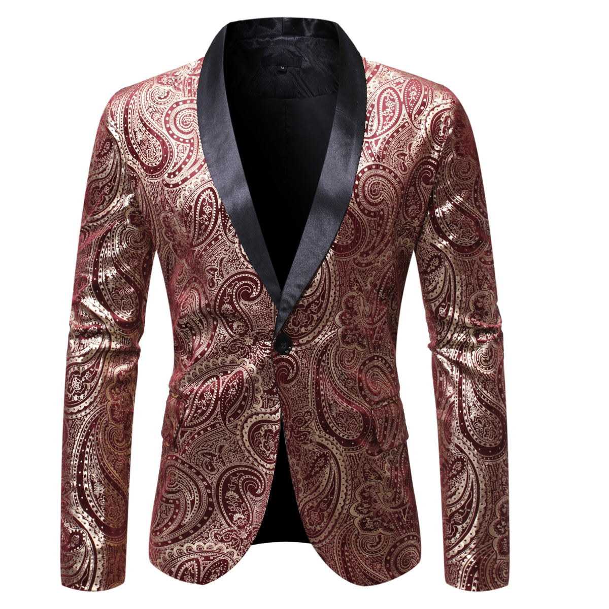 MJARTORIA 2019 New Mens Autumn Pirnt Casual Blazers England Style A Buckle Suits Men Blazer Slim Fit Embroidery V-Neck Blazer