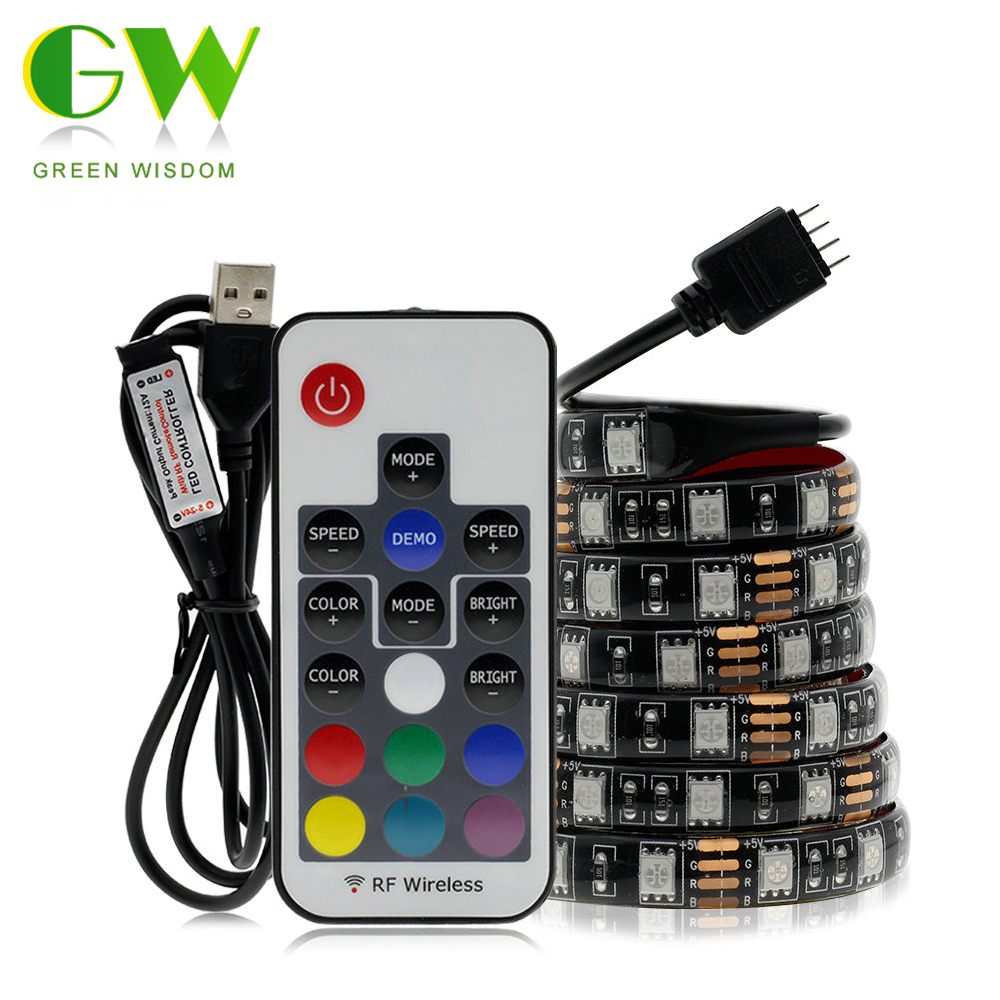 USB RGB LED Strip 5050 DC5V Waterproof Flexible LED Light Tape Ribbon 0.5M 1M 2M Color Changeable For TV Background Lighting