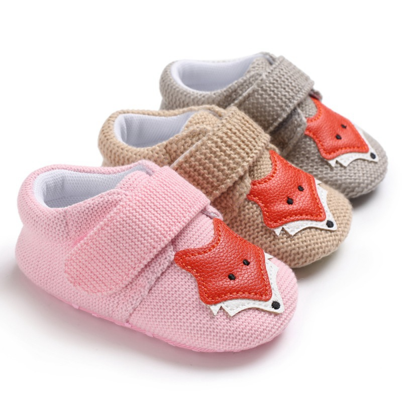 New Knit Fox Baby Girl First Walkers Shoes Animal Cartoon Cute Newborn Baby Shoes Cotton Soft Bottom Boys Shoes 0-18M1