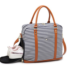 BELLELIFE High Quality Canvas Stripe Travel Bags for WOMEN Fitness Gym Bag MEN Shoulder Portable Trip Handbag Overnight Tote Bag