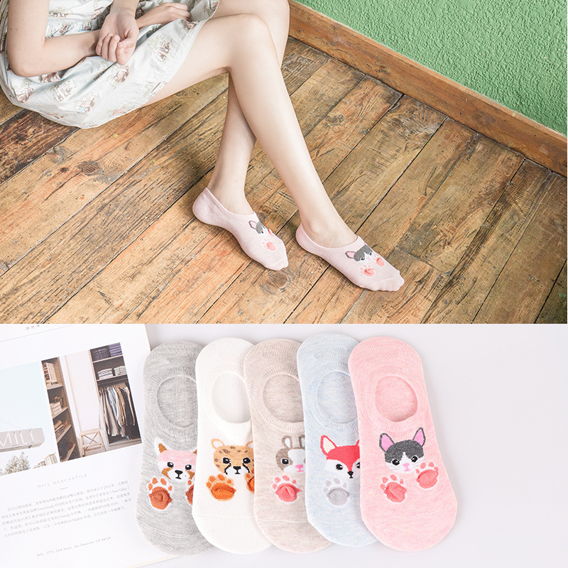 5pairs Ankle Socks Women Sock Cotton No Show Non-slip Short Boat Sock Womens Invisible Soft Animal Winter Autumn Sock Slippers