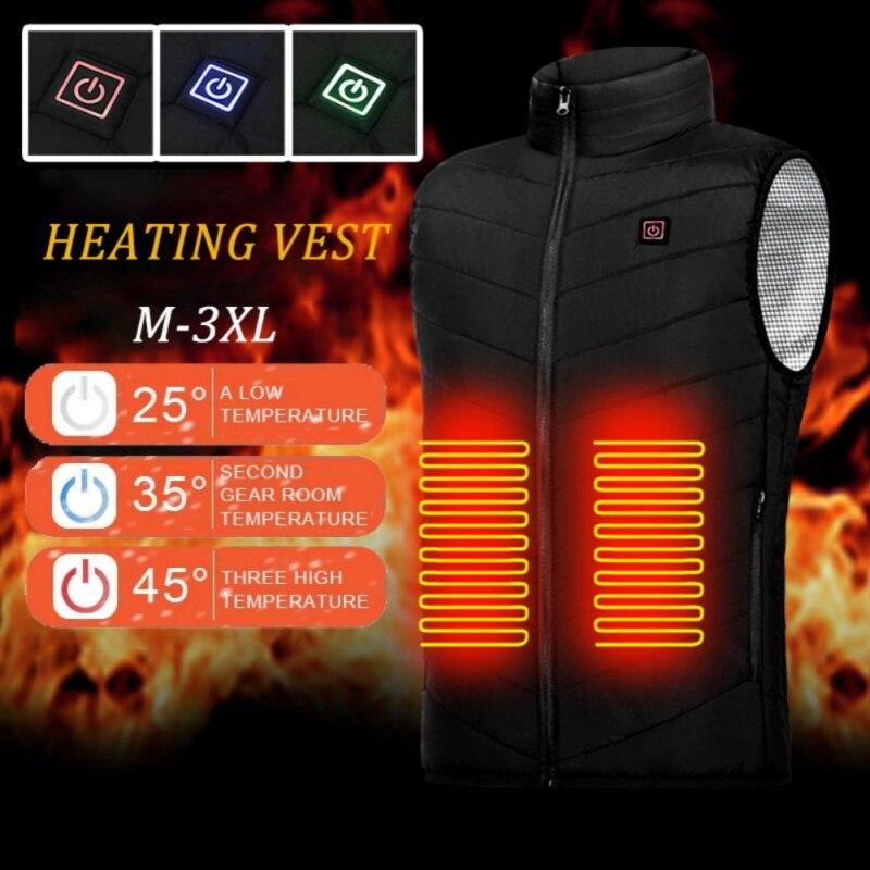 9 Zones Heated Vest Jacket USB Men Winter Electric Heated Sleeveless Jacket Outdoor Fishing Hunting Hiking Vest Waistcoat