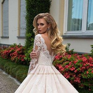 Image 4 - 화려한 볼 가운 웨딩 드레스 긴 소매 플러스 크기 Vestido Blanco Scalloped 목 단추 최대 Appliques 웨딩 드레스 우아한