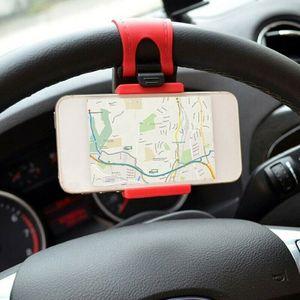 Image 1 - ABS + elastyczna guma samochodów KIEROWNICA uchwyt na telefon komórkowy uniwersalny uchwyt na podstawka pod telefon samochodowy uchwyt do nawigacji wsparcie smartfon voiture