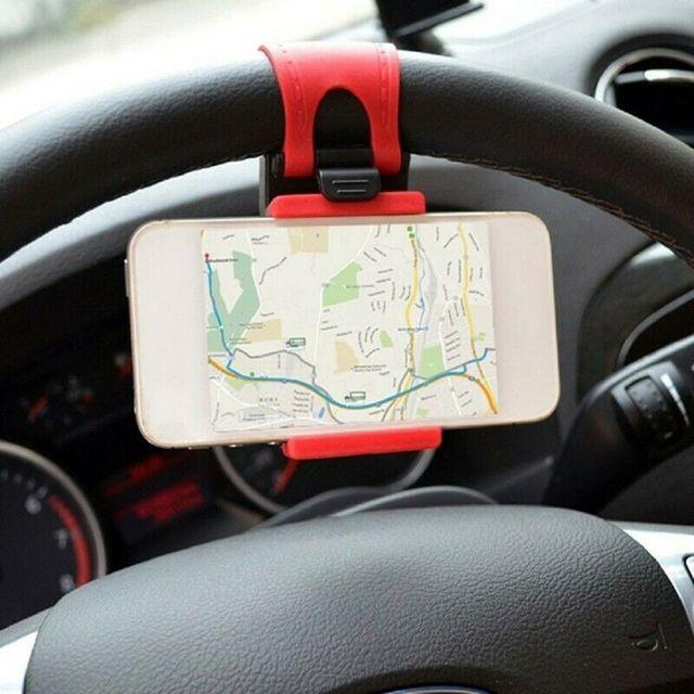ABS + elastyczna guma samochodów KIEROWNICA uchwyt na telefon komórkowy uniwersalny uchwyt na podstawka pod telefon samochodowy uchwyt do nawigacji wsparcie smartfon voiture