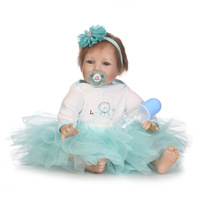 Model Infant Doll Reborn Baby Cute Blue Skirt Toy Soft Silicon Baby Dolls Swimming Newborn Safety Girl Dress Christmas AA50DT