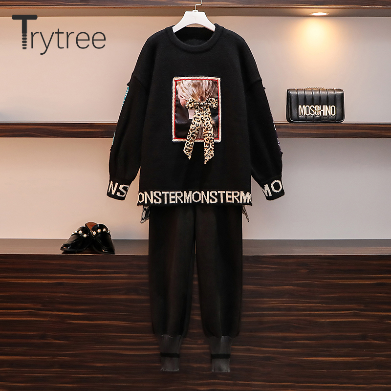 Trytree 2019 Autumn Winter Two Piece Set Casual O-neck Bow Letter Sweater Loose Top + Pant Elastic Waist Solid Set 2 Piece Set