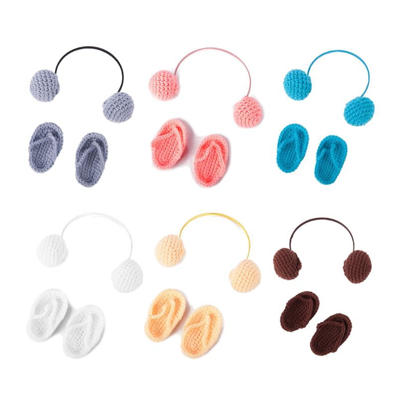 NewBorn Photography Props Hand Crochet Baby Slippers +Headset Set Baby Photo Props Shoes Photography Accessories