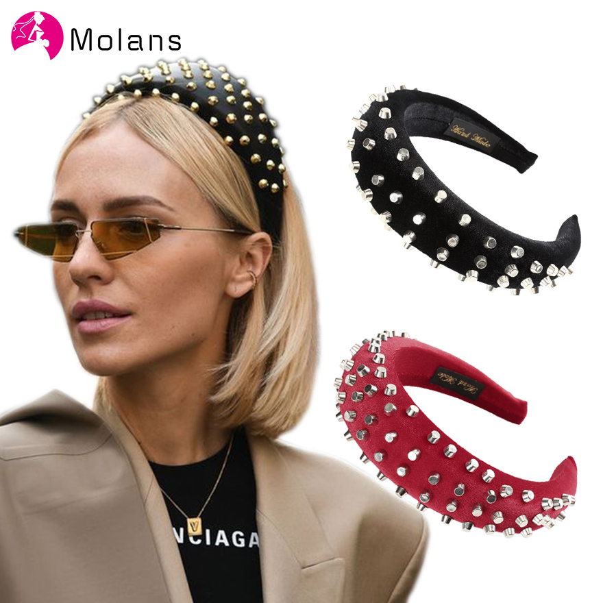 MOLANS Soft Black Deeply Padded Velvet Alice HeadBand With Silver Stud Rivets Spanish Matador Thick Sponge Hair Hoops Hairband