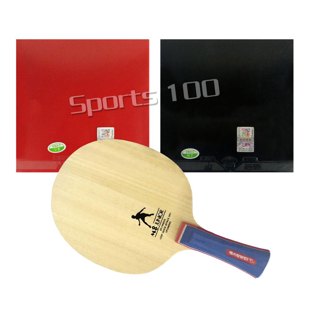 Pro Combo Racket Sanwei M8 With 2x 729 General Table Tennis Rubber With Sponge For One Paddle Long Shakehand FL