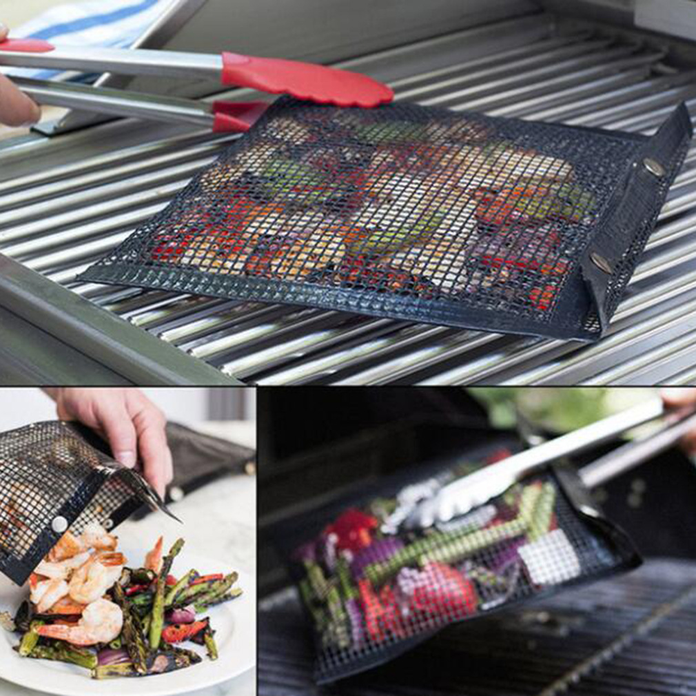 1-10pcs Non-Stick Mesh Grilling Bag Outdoor Picnic Tool Reusable and Easy To Clean Non-Stick BBQ Bake Bag Accessories