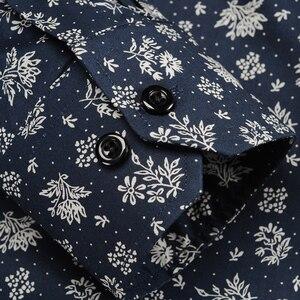 Image 4 - Mannen Fashion Bloemen Gedrukt Lange Mouwen Katoenen Shirts Comfortabele Standaard Fit Button Down Dunne Casual Blouse Tops shirt