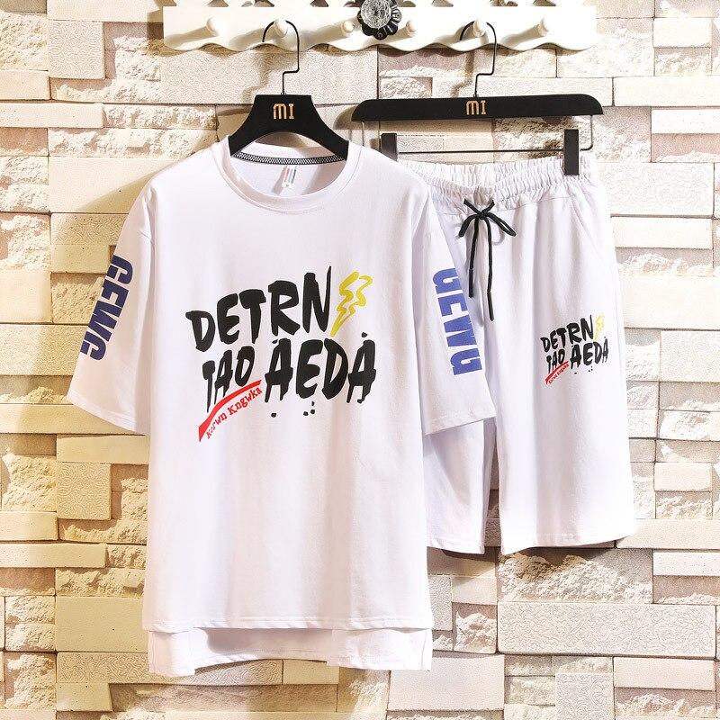 Summer New Style Men Leisure Set Korean-style Trend Short Sleeve T-shirt Male Fifth Pants Shorts Sports Set