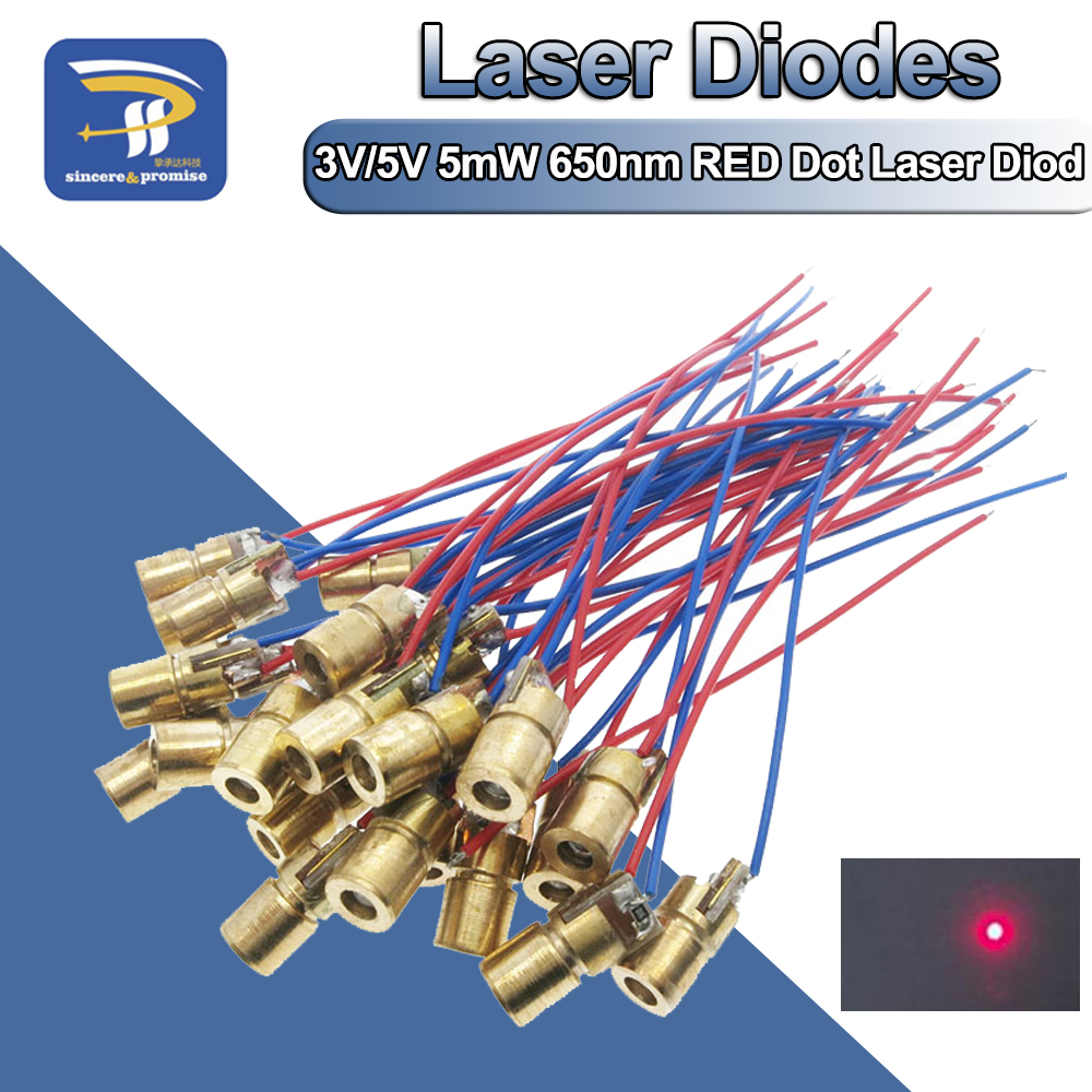 10PCS Adjustable Mini Laser Pointer Diode RED Dot Laser Diod Circuit 3V/5V 5mW 650nm Module Pointer Sight Copper Head(China)