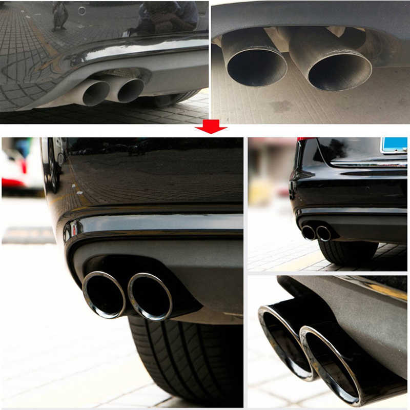 DSYCAR Chrome Plating Stainless Steel Car Exhaust Muffler Tip Pipes Cover