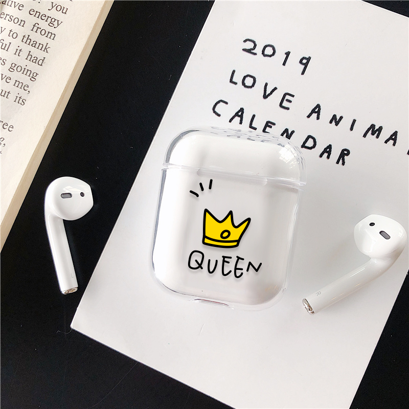 Cartoon Hard PC Transparent Case For AirPods 1 2 Luxury Couple Crown Style Patterned Wireless Earphone Charging Box Cover Bag