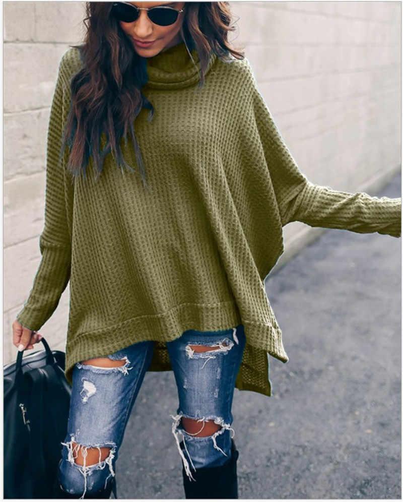 Женский свитер с длинным рукавом на осень и зиму, зеленый, желтый, Свободный вязаный пуловер, джемпер, 2019, повседневный женский свитер с высоким воротом