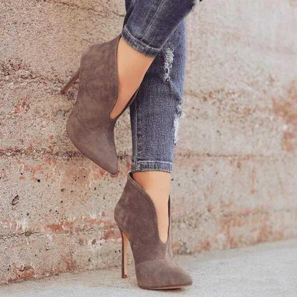 JODIMITTY Sexy femmes bottes 2019 automne col en v talons hauts bottines en cuir chaussons Feminina femme chaussures de fête de mariage
