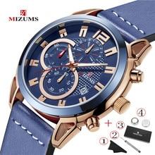 MIZUMS Top Luxury Brand Men Watch Sports Multifunction Chronograph Blue Waterproof Mens Quartz Watches Man Male Designer Clock