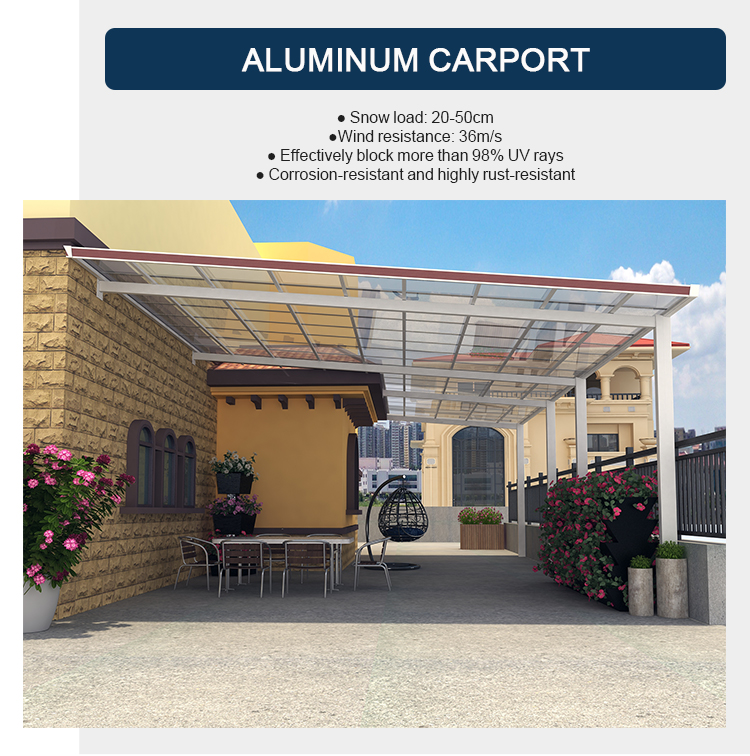 Outdoor Aluminum Carport Car Shelter Car Roof With Polycarbonate Roof 6m Length X 3m Width X 3m Height Aluminium Carports Car Sheltercarport Roofing Aliexpress