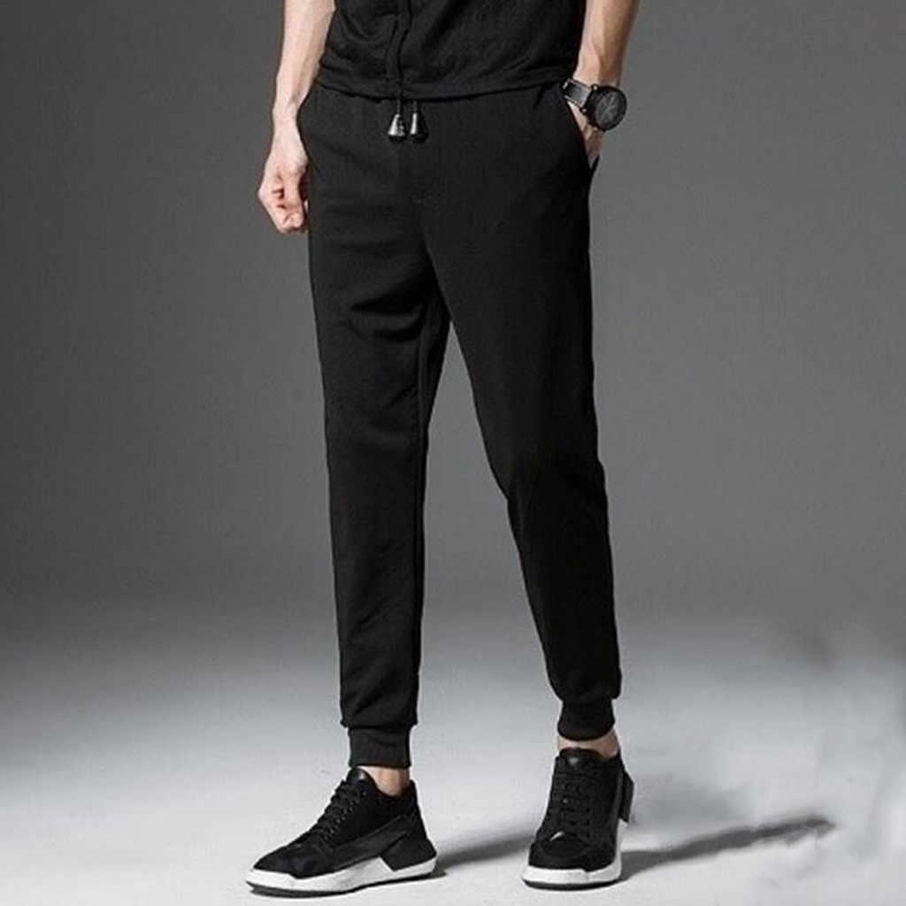 Mens Solid Serut Olahraga Saku Kasual Beam Kaki Celana S-5XL Streetwear Pantalones Hombre Lari Sweatpant 20