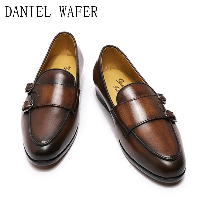 Size 4 5 11 Shoes Teenager Boys Monk Strap Genuine Leather Kids 13 Years Old Cap Toe Party Wedding Formal Dress Shoe for Man