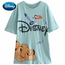 Disney T-Shirt The Lion King of the Jungle Simba Zazu Cartoon Print Short Sleeve Harajuku Women Cotton Korea Female Tee Tops