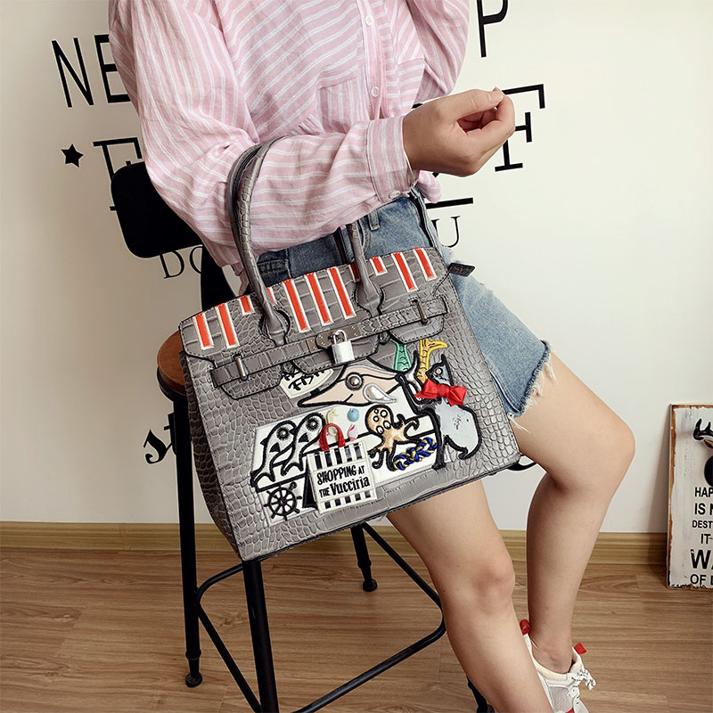Women Bags Leather Patchwork Embroidery Handbags Girl Shoulder Bags Messenger Bag Totes Braccialini Style Art Seafood Market