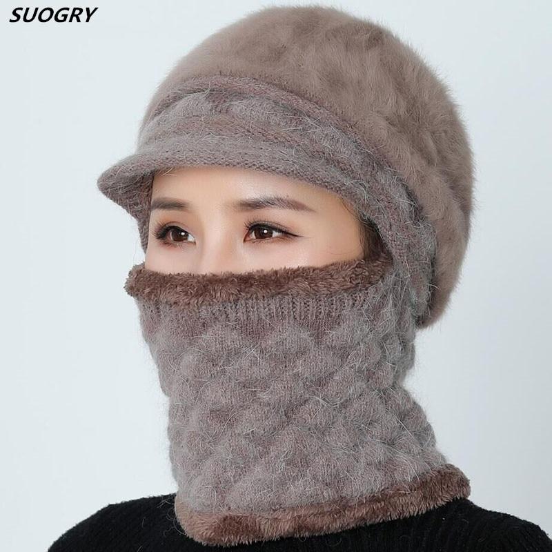 Skullies     Beanies   Women Winter Mother Hat Knitted   Beanie   Girls Scarf Female Hats For Women Wool   Beanie   Cap Winter Mask Hat 2019