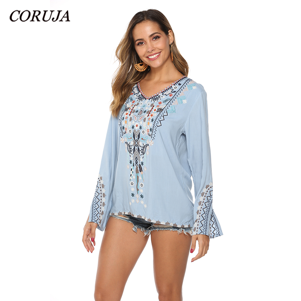 Women's Casual Tops Embroidered Mexican Relaxed Fit Peasant Blouse Mexico Long Sleeve V Neck Cotton Blouses Loose Shirts