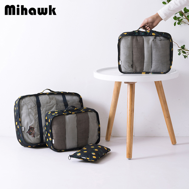 Mihawk Oxford 6Pcs/Set Flamingo Pattern Travel Bags Women's Waterproof Traveling Packing Cube Luggage Suitcase Accessories Stuff