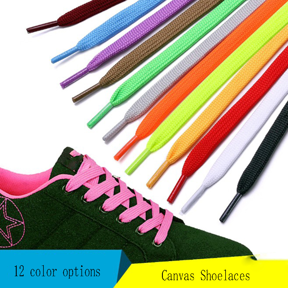 1Pair Double Flat Laces High Quality Polyester Shoelaces Fashion Sports Casual Shoe Lace Solid Flat Shoelace 12 Colors