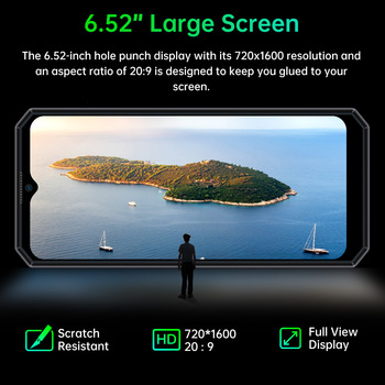 "OUKITEL K15 Plus 10000mAh NFC Smart Phone  6.52"" 3GB RAM 32GB ROM Cell Phone Quad Core Android 10 Mobile Phone MT6761 13MP 3"