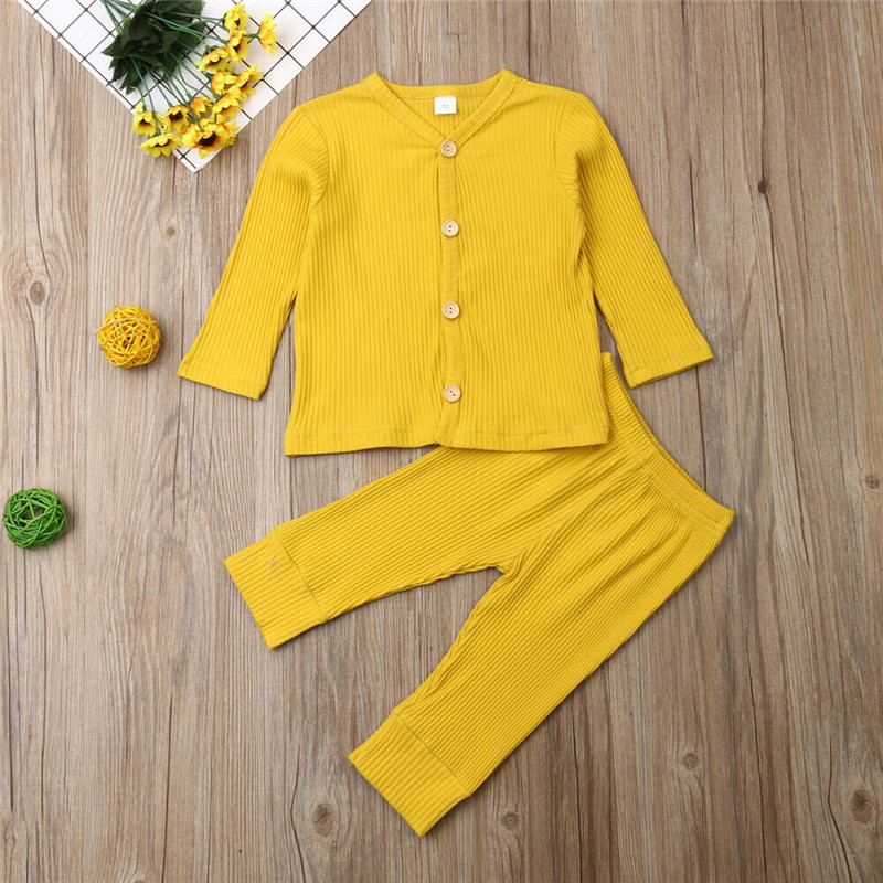 2019 Baby Spring Autumn Clothing Newborn Baby Girl Boy Knitted Long Sleeve Tops+Pants Leggings 2Pcs Outfits Solid Ribbed Clothes Pakistan