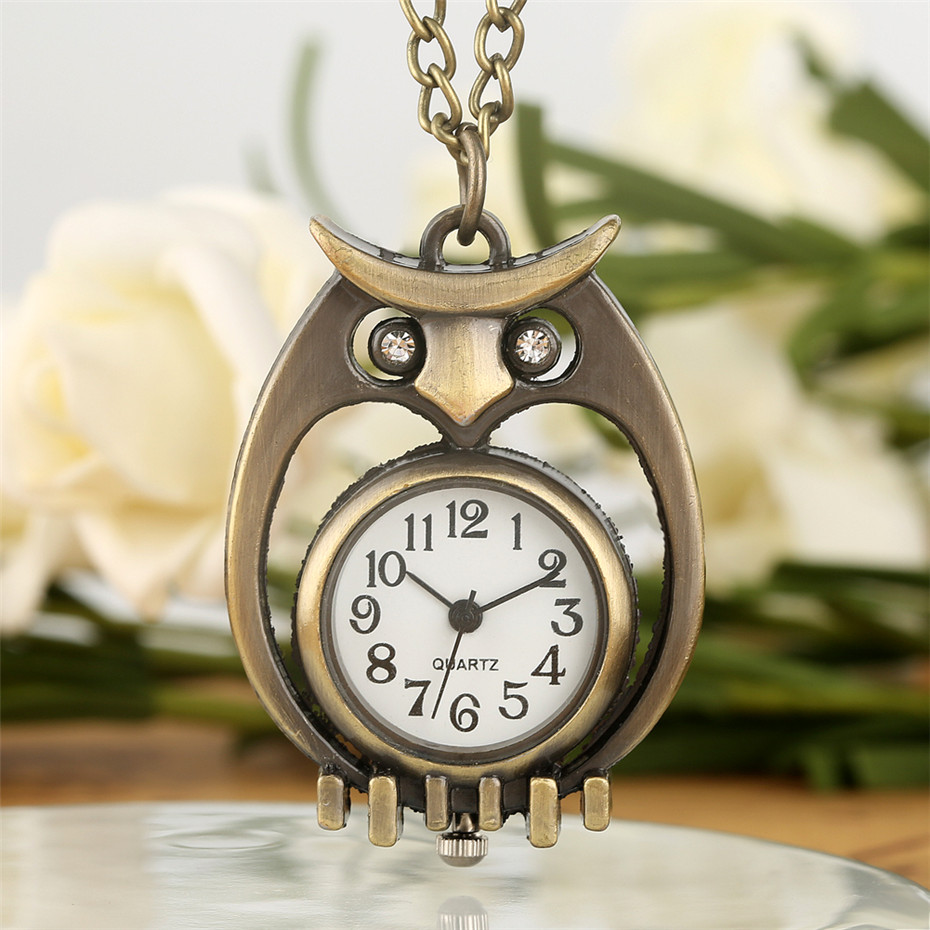 Mini Size Bronze Hollow Owl Design Necklace Pendant Pocket Watch Exquisite Clock Gifts For Kids Boys Girls