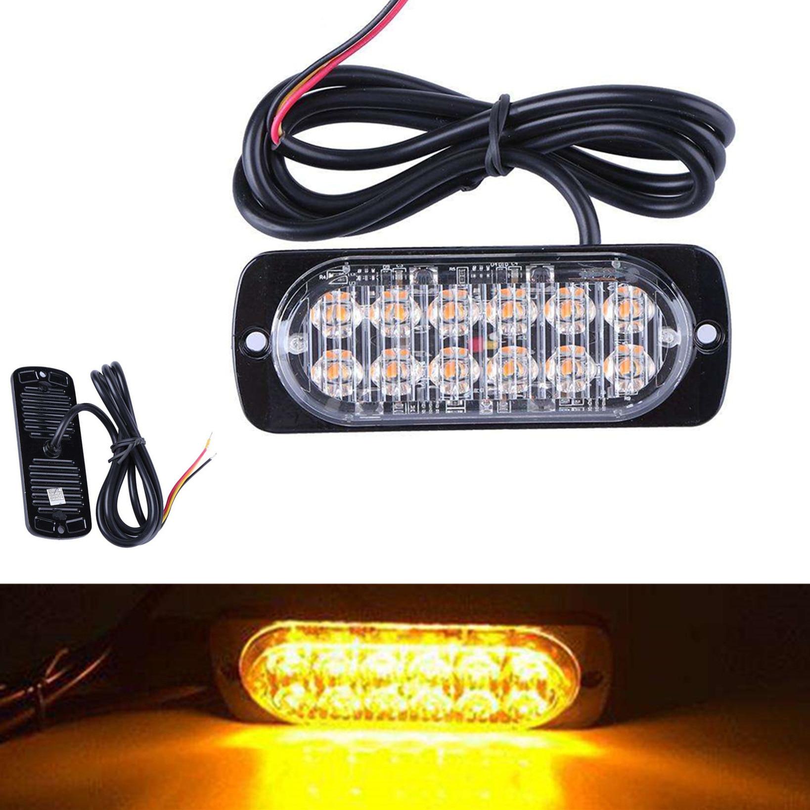 Car Body Warning Light 12 LED Ultrathin 36W 12-24V Truck Motorcycle Aluminum Case Traffic Safety Protect Side Edge Warning Light