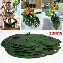 12 sztuk/partia Summer Tropical Party sztuczne liście palmowe hawajski Luau Party Jungle Beach Theme strona dekoracji hawaje Home Decor