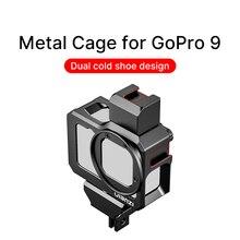Ulanzi G9 5 GoPro 9 מתכת כלוב לgopro גיבור 9 שחור מסגרת מקרה עם 52MM מסנן מתאם להאריך קר נעל הר מיקרופון למלא אור