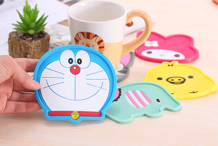 Free Shipping 2015 New Silicone Cartoon Doraemon Cup Coaster Nonslip Place Mat Pads Cup Cushion My Melody Tea Cup Holder BD003