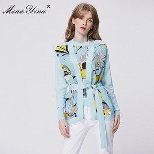 Image 2 - MoaaYina แฟชั่นฤดูใบไม้ผลิแขนยาวถักเสื้อผู้หญิง Elegant พิมพ์ลูกไม้ขึ้น Cardigans ผ้าไหม Patchwork ขนสัตว์เสื้อ
