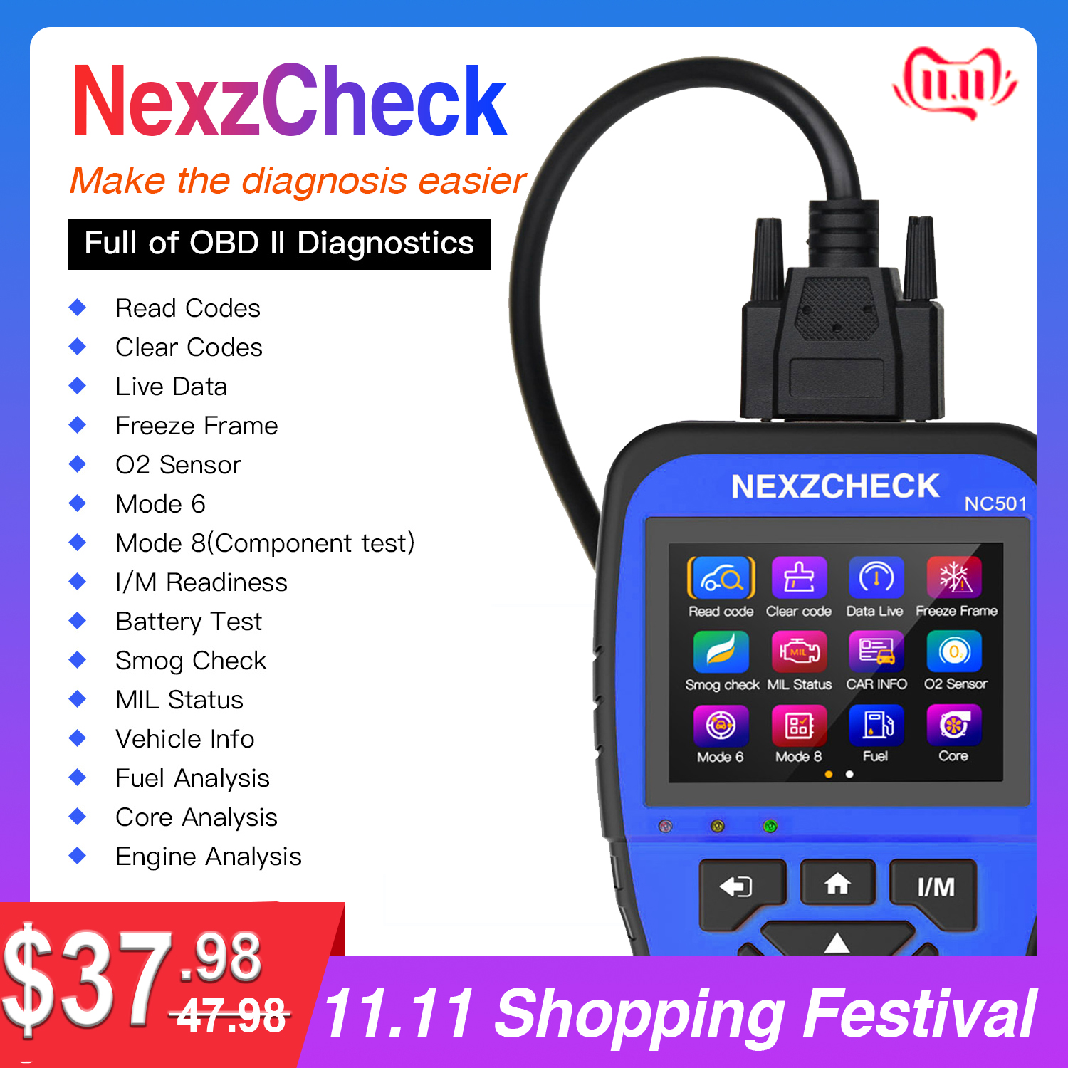 HUMZOR NexzCheck OBD2 & EOBD Scanner NC501 Engine Code Reader Diagnostic Tool  for Universal Vehicles PK NT301 CR3008
