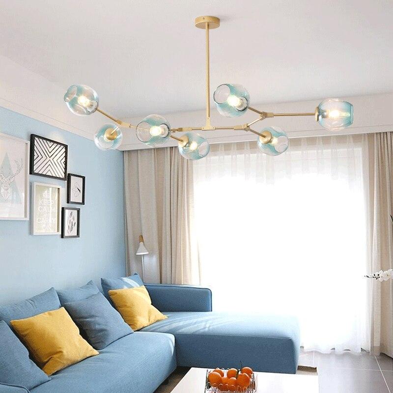 Nordic lustre Glass Ball LOFT LED Chandelier Lighting Art Molecule Hall Living Room Restaurant Suspension pendant lamps Fixtures