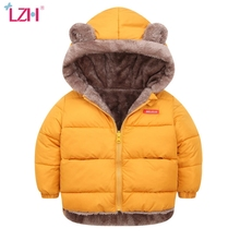 LZH Baby Girls Jacket 2020 Autumn Winter Jacket For Girls Warm Outerwear Coat Kids Boys Jacket Children Clothes 2 3 4 5 6 Year cheap Casual Cotton Polyester CN(Origin) Letter Regular Hooded Outerwear Coats Full Fits true to size take your normal size
