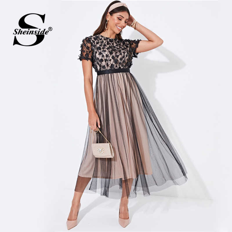 Sheinside Floral Applique Mesh Detail Party Dress Women 2019 Autumn Short Sleeve A Line Dresses Ladies Layered Mesh Midi Dress