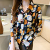 Women Chiffon Shirts Retro Single-breasted Long Sleeve Floral Painted Turn Down Collar Blusas Top 2021 New Spring Female Blouses 2