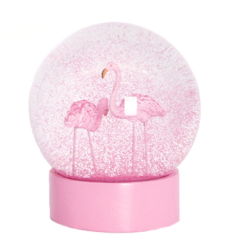 Creative Lovely Flamingo Glitter Clear Glass Snow Globe Crystal Ball with Pink Base for Valentines Day Gift wholesales