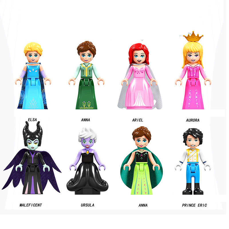 8Pcs Fairy Tale Friend Princess Anna Elsa Cinderella Eric Model Building Block Toys Compatible Playmobil Gift For Children