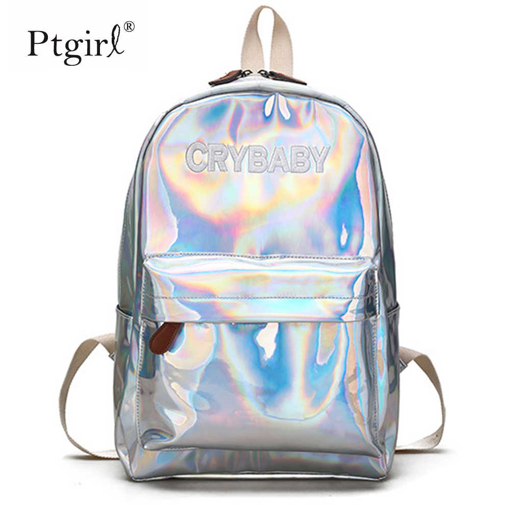 2019 mode Hip-hop Stil Stickerei Brief Crybaby Hologramm Laser Rucksack Frauen Weichen PU Leder Rucksack Schule Tasche Für mädchen