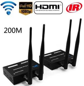 Image 1 - 1TX إلى 1 2 3 RX 100M 200M اللاسلكية HDMI موسع جهاز ريسيفر استقبال وإرسال من خلال جدار الأشعة تحت الحمراء عن بعد HDMI ملحق تمديد كابلات 1X3 الخائن